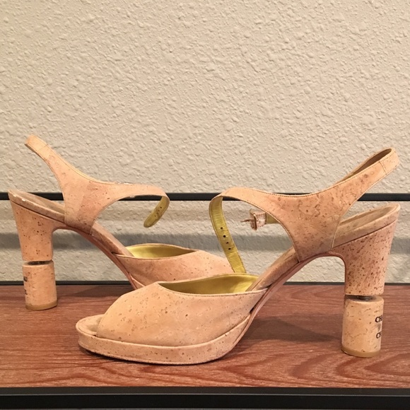 401791ceb21 CHANEL Shoes - Chanel Chateau Collection Wine Cork Peep Toe Heels